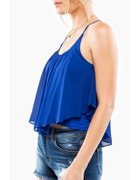 Scoop Neck Ruffle Cami Top by A'gaci