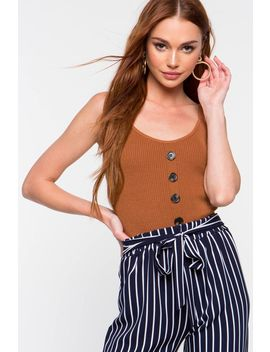 Buttoned Ribbed Cami by A'gaci
