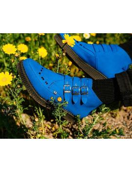Electric Blue 3 Buckle Pointed Creeper Boot by Tuk