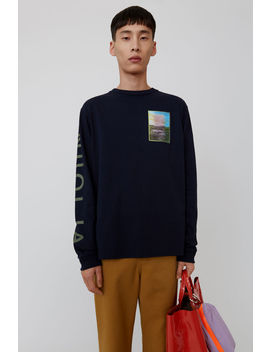 Printed Long Sleeved T Shirt Navy Blue by Acne Studios