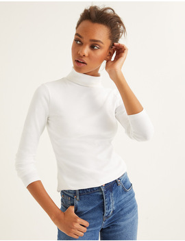 Essential Roll Neck   White by Boden