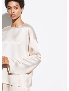 Satin Long Sleeve Blouse by Vince