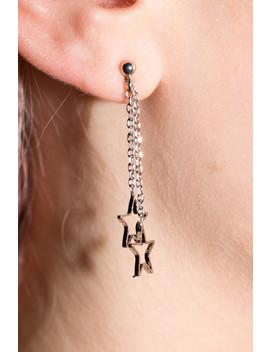 Silver Dangling Star Earrings by Brandy Melville