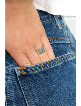 Silver Square Signet Ring by Brandy Melville