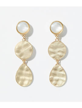 Hammered Metal Stone Drop Earrings by Loft