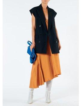 Mendini Twill V Neck Draped Dress by Tibi