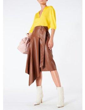 Tissue Leather Asymmetric Drape Skirt by Tibi