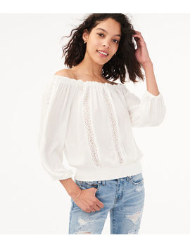 Long Sleeve Off The Shoulder Peasant Top by Aeropostale