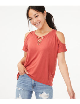 Seriously Soft Cold Shoulder Lace Up Top*** by Aeropostale