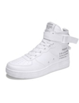 Round Toe Buckle Zipper Letter Prined High Top Men's Sneakers by Tb Dress