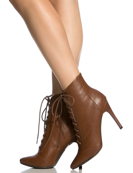 Tan Faux Leather Lace Up Pointed Toe Booties by Ci Cihot