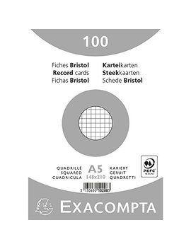 Paquet 100 Fiches Bristol Sous Film   Blanc Quadrille 5x5 Non Perfore 148x210mm by Exacompta