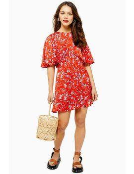 Petite Austin Floral Star Print Angel Sleeve Mini Dress by Topshop