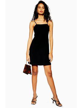 Black Low Back Mini Slip Dress by Topshop