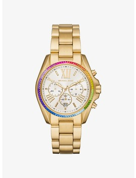 Oversized Bradshaw Rainbow Pavé Gold Tone Watch by Michael Kors