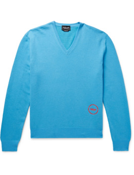 Logo Embroidered Wool And Cotton Blend Sweater by Calvin Klein 205 W39 Nyc