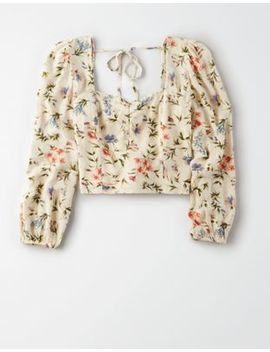 Ae Floral Sweetheart Neck Blouse by American Eagle Outfitters