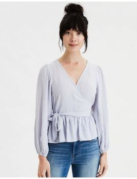Ae Striped Peplum Wrap Front Top by American Eagle Outfitters