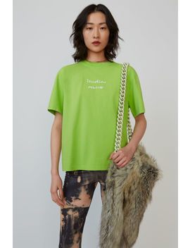 Broken Logo T Shirt Neon Yellow by Acne Studios