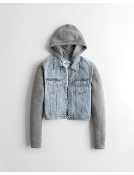 Crop Hooded Denim Jacket by Hollister