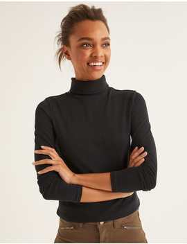 Essential Roll Neck   Navy/ Ivory by Boden