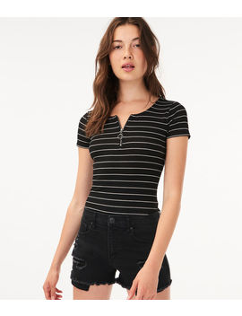 Seriously Soft Striped Zip Up Tee by Aeropostale