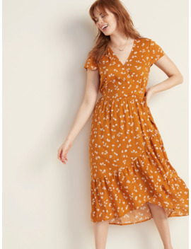 Waist Defined Faux Wrap Tiered Hem Midi For Women by Old Navy