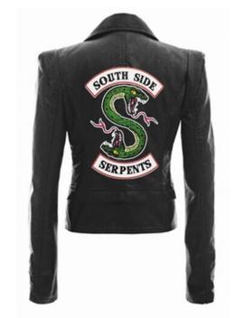 New Stylish Letter South Side Snake Logo Print Back Long Sleeve Lapel Collar Zip Up Biker Jacket by Beautiful Halo