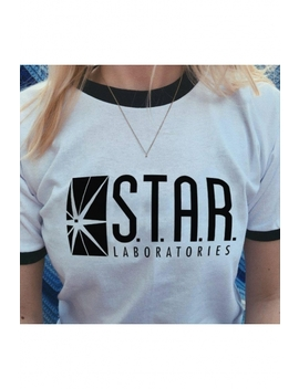 Star Letter Graphic Printed Contrast Trim Round Neck Short Sleeve Tee by Beautiful Halo