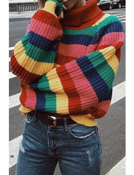Women's Winter Fashion Colorful Striped Color Block Turtleneck Red Sweater by Beautiful Halo