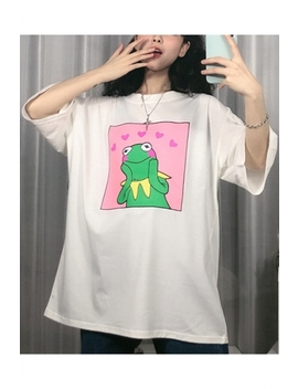 Funny Cute Cartoon Heart Frog Pattern Round Neck Summer Oversized T Shirt by Beautiful Halo