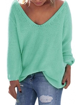 Women's V Neck Solid Color Loose Pullover Thin Sweater by Beautiful Halo