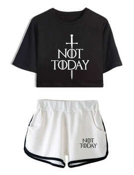 Unique Sword Letter Not Today Cropped Tee Sport Shorts Casual Loose Two Piece Set For Girls by Beautiful Halo