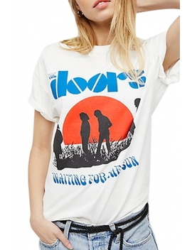 Doors Letter Character Printed Round Neck Short Sleeve T Shirt by Beautiful Halo