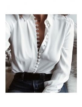 Stylish Plain Point Collar Long Sleeves Button Down Shirt by Beautiful Halo