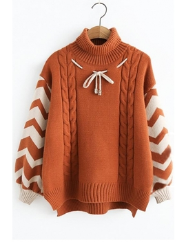 Turtleneck Color Block Long Sleeve Bow Embellished Sweater by Beautiful Halo