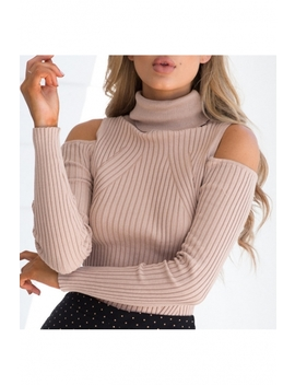 Cold Shoulder Turtleneck Long Sleeve Plain Slim Knit Sweater by Beautiful Halo