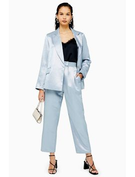 Light Blue Satin Ovoid Trousers by Topshop