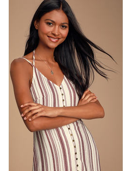 Summer Breeze Plum And Cream Striped Button Front Shift Dress by Lulus