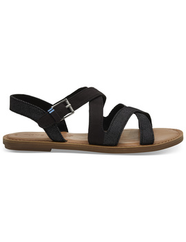 Black Canvas And Denim Women's Sicily Sandals by Toms