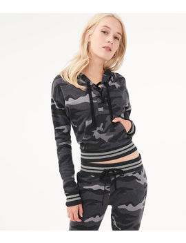 Camo Lace Up Pullover Hoodie by Aeropostale
