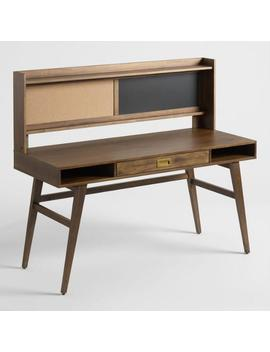 Smoke Brown Wood Tristan Desk With Cork And Chalkboard by World Market