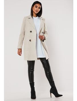 Sand Plaid Button Front Coat by Missguided