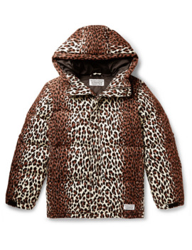 Leopard Print Quilted Cotton Corduroy Down Jacket by Wacko Maria