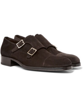 Edgar Suede Monk Strap Shoes by Tom Ford