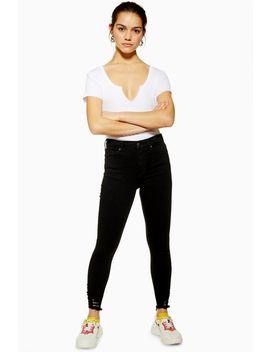 Petite Black Rip Hem Jamie Jeans by Topshop