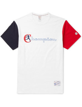 Colour Block Logo Print Cotton Jersey T Shirt by Todd Snyder + Champion