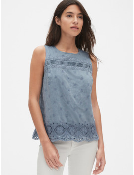 Eyelet Embroidered Tank Top In Chambray by Gap