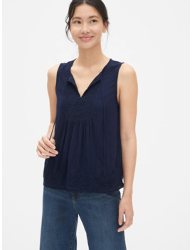 Eyelet Embroidered Crinkle Tank Top by Gap