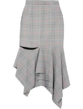 Prince Of Wales Ruffled Woven Midi Skirt by Monse